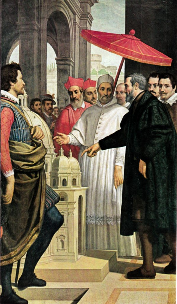 passignano michelangelo presenta a paolo iv il modellino per san pietro the young pope